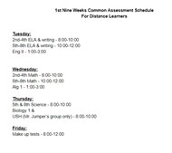 Distance Learners-1st 9 Weeks Common Assessments
