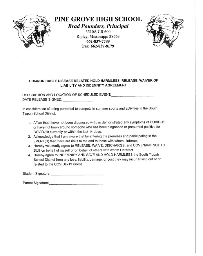 Summer Sports Waiver of Liability
