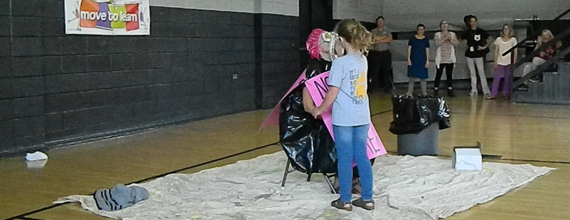 Mrs. Roberts gets pied by her daughter!