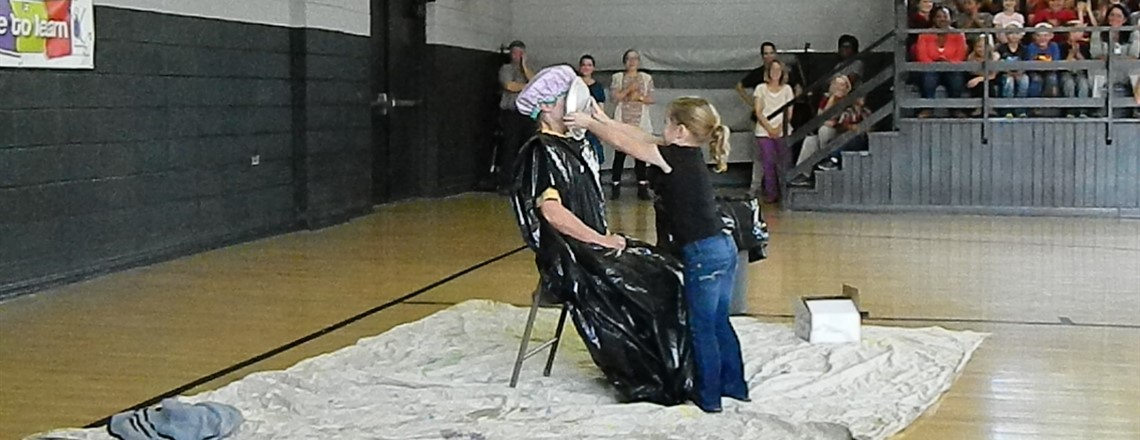 Mrs. Shea gets pied for a good cause!