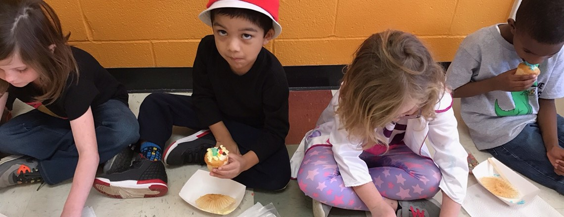 Eating cupcakes for Dr. Seuss's birthday!