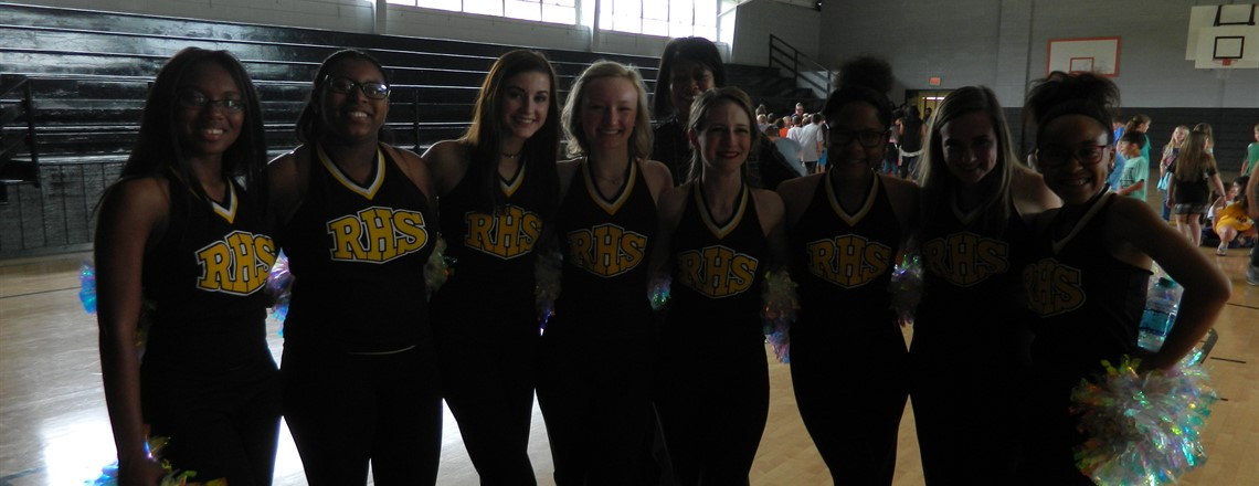 RHS Pom Squad comes to RES for Pep Rally to encourage students to do their best on the State tests!