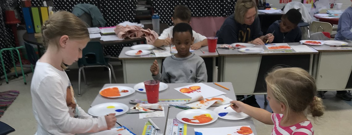 Students create artwork after local artist visits with classroom!