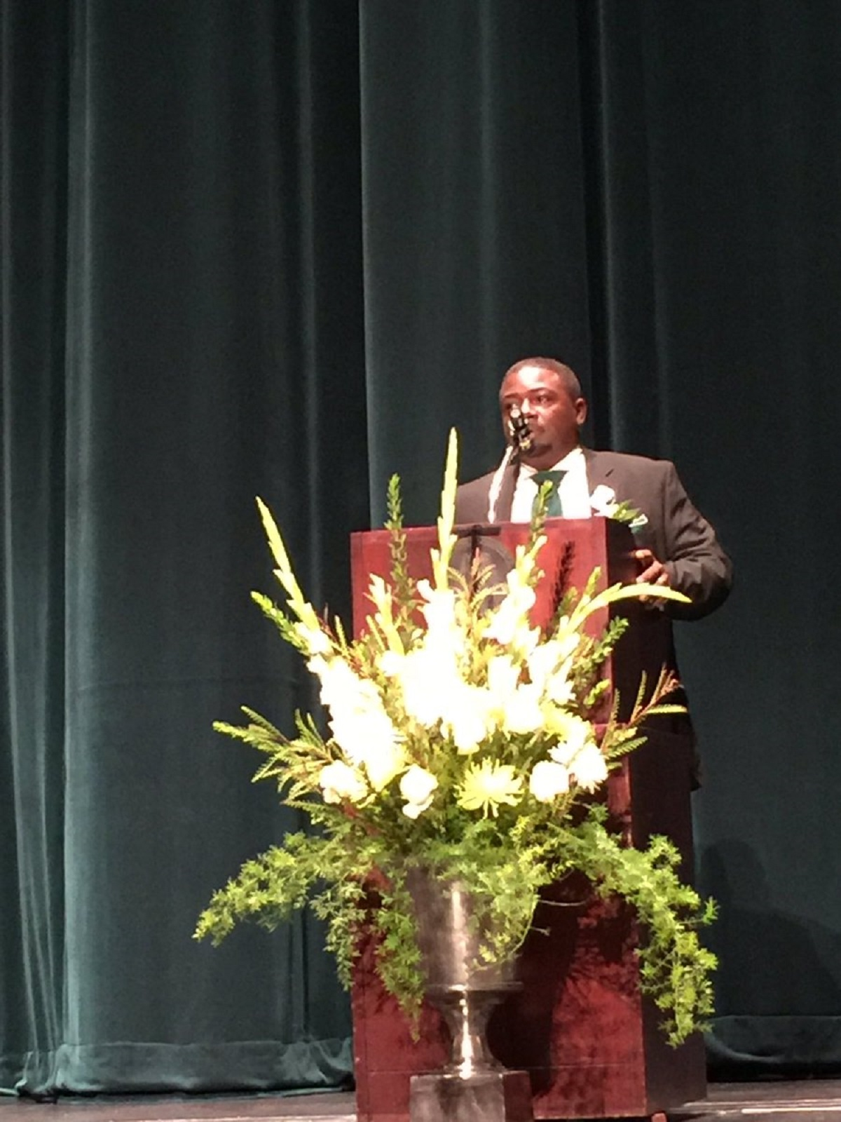 Coach Rico McDonald being inducted into the Delta State Football Hall of Fame