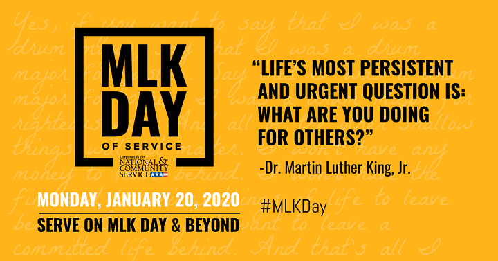 We are out on Monday, January 20, 2020 for MLK Day